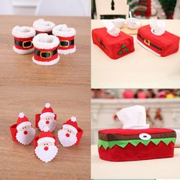 Christmas Napkin Rings Wholesale NZ - Santa Claus Red Napkin Rings Holder Elf Cloth Tissue Boxes Party Banquet Dinner Table Christmas Decoration Serviette Holder