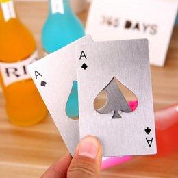 Apribottiglie da poker in acciaio inox Apribottiglie da birra in acciaio inox Utensili per carte di credito Regali per la cucina LX3323 in Offerta