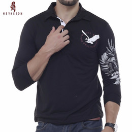 Discount eagle shirt print - Wholesale-HEYKESON Mens  Shirt Brands 2017 Male Long Sleeve Fashion Casual Slim Solid Eagle Printing s Men XXL