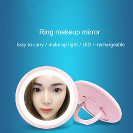 girls pocket mirrors Canada - Small mirror, portable cosmetic mirror, lamp, LED light pocket, hand held travel girl, recharge beauty makeup mirror.