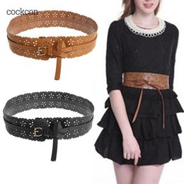 Band Belts Australia - Fashion Women belt Retro Faux Leather Wide Self Tie Wrap Around Hollow Flower Waist Band Dress Belt