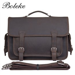 Men Crazy Horse Genuine Leather Messenger Shoulder Bag Vintage Handmade 14  inch Laptop Briefcase Casual handbag for  M7374R a44b8698f02ff