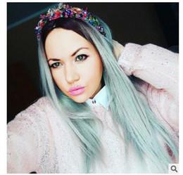 $enCountryForm.capitalKeyWord Australia - 2018 European and American fashion women gradual coloured medium wig long straight hair chemical fiber headgear manufacturer wholesale
