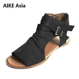 b8c167347 2018 woman wedge buckles fish mouth sandals gladiator women sandals mid  heel canvas ladies summer peep toe women shoes