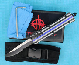 serrated edge pocket knife Canada - Allvin Manufacture Blue Flag 7 Inch 616 Mini Auto Tactical Knife 440C Single Edge Drop Point Serrated Blade EDC Pocket Knives