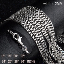 $enCountryForm.capitalKeyWord NZ - 16~30inches Plated silver 2MM men women chain unique cute nice Valentine gifts exquisite fashion wedding necklace jewelry