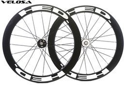 Fixed Gear Track Australia - Velosa 60 track bike carbon wheelset with HED decals, 700C 60mm clincher tubular,fixed gear street bike carbon wheel