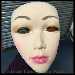 Party Face Mask Sizing Australia - Top Grade 100% Latex Lady Skin Mask crossdress female mask realistic silicone party Women Face For Cosplay free size