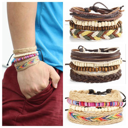 Wholesale Multi layer Weave Rope Cuff Braclete Beads Leather Bracelet Bohemian Style Wristband Beads Chain Wrap Weaved Bracelets OOA4488