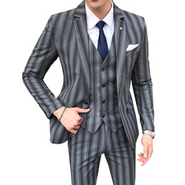 Korean Style Wedding Clothes NZ - 2018 Mens Clothing Luxury Wedding Suit (jacket+vest+trousers) Korean Style Slim Fit Male Business Casual Wedding Striped Suit