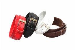 Genuine Leather Wrist Cuff Bracelet Men Titanium Stainless Steel Buckle Wide Band Leather Belt Bracelet Red/Black/White/Brown