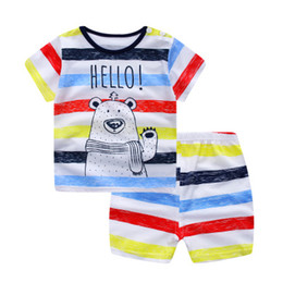 Discount boys casual wear t shirts Cartoon Kids Suit Summer Boy Girl Cute Animal Print Shorts T Shirt Short Pants Two Pieces Set Baby Wear