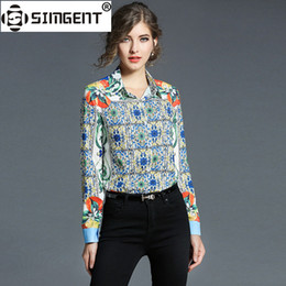 $enCountryForm.capitalKeyWord Australia - Simgent Camisas Mujer Women Long Sleeve Plaid Floral Print Polo Collar Office Casual Blouses and Shirts Blusa Feminina SG712134