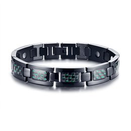 "Fiber Link NZ - Green Carbon Fiber Inlaid Stainless Steel Magnetic Link Bracelet 9"" Length Adjustble"
