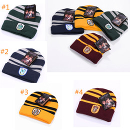 Harry Potter Hat Hogwarts Gryffindor Slytherin Ravenclaw Hufflepuff Badge  Hat Skull Caps winter Hats Hallowin Gift for men women 3af79b392cc2