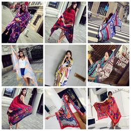 Floral scarFs online shopping - 39colors Summer Ladies National Wind Travel Scarves Luxury Tassel Shawl Resort Beach Towel cm Air Conditioning GGA389
