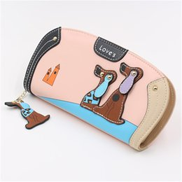 Dog Zipper Australia - New Fashion Cartoon Dog Lady Wallet Zipper Rivet Deaign Long Purse Leather Lovely Printing Clutch Money Coin Card Holder Wallet