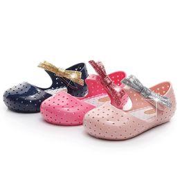 Мини-СЭД блеск лук Baotou рыбы рот мультфильм мальчик сандалии девушки желе сандалии девушки обувь DHL бесплатная доставка