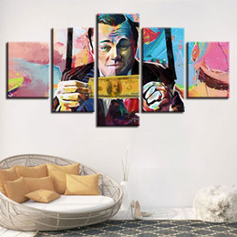 Art Canvas Prints Australia - 5 Pieces Canvas HD Printed Poster Frame Abstract Graffiti U.S.Dollar Money Painting Modular Wall Art Pictures Living Room Decor