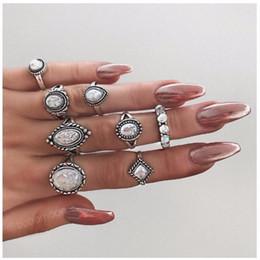 ea0a85502804 Marca Ladies Rings Set 8 PCS   LOT Womens Cheap Antique plateó la joyería  de plata Venta caliente Simple Opal Ring Free Shipping