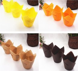 Cakes CupCakes flowers online shopping - Hot Home Bar pack Paper Cake Decoration Tool Mold Tulip Flower Chocolate Cupcake Wrapper Baking Muffin Paper Liner Disposable