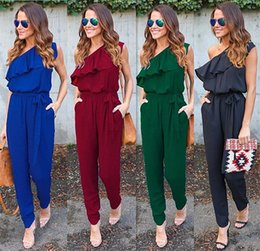 d91c1a18be76b Women s Jumpsuits   Rompers Sexy Women Summer Rompers Jumpsuit Long One  Shoulder Ruffle Casual Solid Bodysuit Sleeveless Playsuit Black