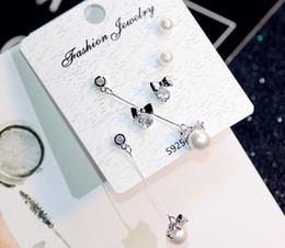 f9a03b2d95dd Temperamento salvaje 3 unidades set 6 pendientes pequeños mariposa festivo  pendientes de perlas joyería femenina