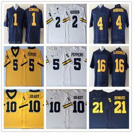 NCAA Michigan Wolverine 12 Tom Brady 2 Charles Woodson 4 Jim Harbaugh 5  Jabrill Peppers 16 Denard Robinson 21 Desmond Howard Jerseys 11085fdb5