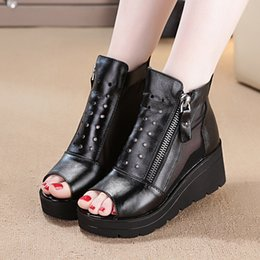 $enCountryForm.capitalKeyWord Australia - Summer novelty women casual shoes Thick wedge bottom leather fabrics of high heels Comfortable solid casual shoes for ladies