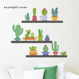 Beautiful Cactus Wall Stickers Home Decor Living Room Dining Decoration Accessories PVC DIY Plants Mural Art Decalshaif