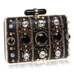 Discount fashion trend evening Fashion Trend New Evening Bags Black beaded Clutch wedding bridal clutches party dinner purse chains handbag