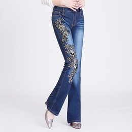 f4c79872808 Slim cut pantS online shopping - Women Jeans with Rhinestones Black Sequins  Beading Embroidery Pants High