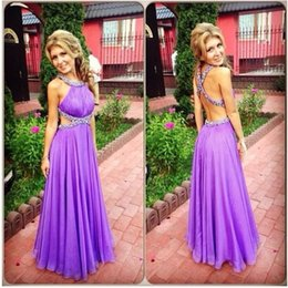 robe cocktail crystals sexy NZ - vestido de formatura longo 2018 Light Purple Crystal Beaded Backless Sexy Prom Dress Party Gown High Quality robe de soiree