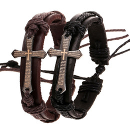 $enCountryForm.capitalKeyWord UK - Leather Bracelet Cross Bible Charm Braided Bracelet Urban Jewelry Handmade Black Genuine Leather Adjustable Wristband retro Jewelry Epacket