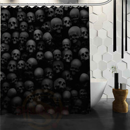 Custom Skull Shower Curtains Bathroom Mildewproof Polyester Waterproof Fabric With Hooks