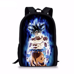 cool cartoon boys UK - Fashion Children Anime Backpack Cool Dragon Ball Super Blue Character Son Goku Vegeta Printing School Bags for Boys