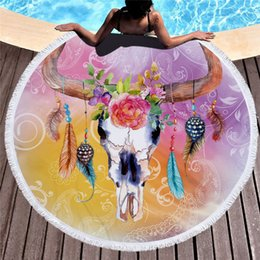 Round Skull NZ - Round Beach Towel Flower Goat Skull Printed Beach Towels 150cm Microfiber Bath Towels With Tassel Yoga Mat Carpet Travel Towel