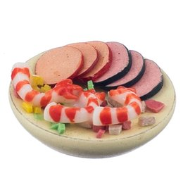 Wholesale 1 Sea Salad On A Plate Dolls House Miniature Accessory Ham Prawn Salad Lunch Model Simulation Color Multicolored