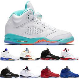 ecb9d7772383 Nike Air Jordan Retro Zapatos de baloncesto 5 5s Hombres Mujeres Bred Light  Aqua Laney Rojo Azul Gamuza Blanco Cemento Metálico Negro Hombres Deportes  ...