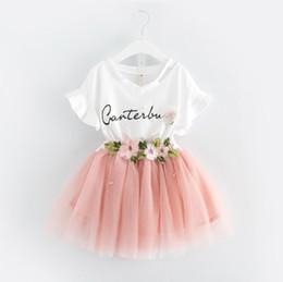 Discount 5t boutique clothing - Children lace skirts outfits girls Letter print top+flower tutu skirts 2pcs set 2018 summer Baby suit Boutique kids Clot