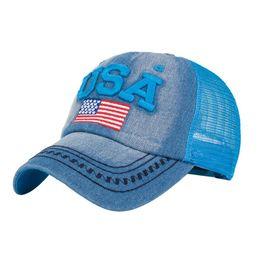 5114965e198 Fashion women hat summer ponytail baseball cap Embroidery American Flag  mesh Unisex Snapback Hip Hop Hat casquette femme sport