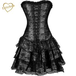 f5686c8e50 Lace Corset Dress Punk Sexy Women Corset and Bustier Burlesque Club wear  Gothic Dress Hot Sale Black Green Red Purple Set