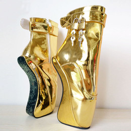 """Sexy Pole Dancing Australia - Women 7"""" 18CM Extreme High Heels Pony Wedge Ballet Ankle Boots Liquid Gold Sexy Man Fetish Padlocks Exotic Pole Dance Boots for Customized"""