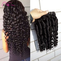 Loose Kinky Curly Hair Canada - 8A Kinky Curly Human Hair Weave Brazilian Peruvian Malaysian Indian Loose Wave Lace Closure Candy Spin Full Head 3Pcs 300g Lot