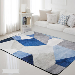 Wholesale Geometric Nordic Blue Grey Printed Rectangle Carpet Rugs Living Room Bedroom Tapete Non Slip Children Kids Soft Play Floor Mats Blanket