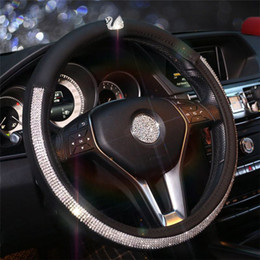 38cm Car Steering Wheel Cover Leather Women Styling Rhinestone Swan Skidproof For BMW Benz Toyota