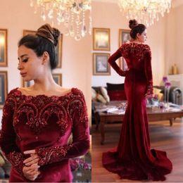 Vintage mother pearl online shopping - 2018 Arabic Gorgeous Long Sleeves Formal Evening Dresses with Beaded Collar Mermaid Burgundy Velvet Long Prom Dress Mother Dress BA6885
