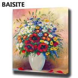 $enCountryForm.capitalKeyWord NZ - BAISITE DIY Framed Oil Painting By Numbers Flowers Pictures Canvas Painting For Living Room Wall Art Home Decor E1003
