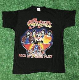 Vintage Aerosmith T Gömlek 80 s Park Yeri Bootleg Sz M Kaya Sert Bir Yer Rahat t gömlek Casual Kısa Kollu indirimde