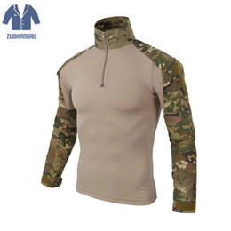 Discount camo clothing t shirts - Tactical camouflage Long Sleeve T-Shirts For men Gear Army Men Soldiers Combat Force Multicam Camo hunter clothes oodji